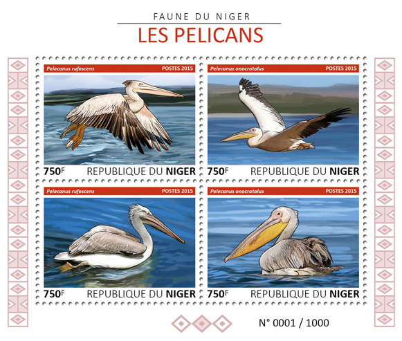 Pelicans - Issue of Niger postage stamps