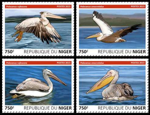 Pelicans – set - Issue of Niger postage stamps