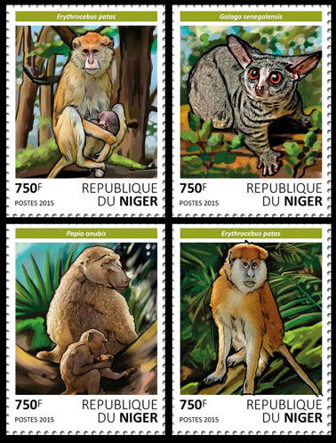 Primates – set - Issue of Niger postage stamps