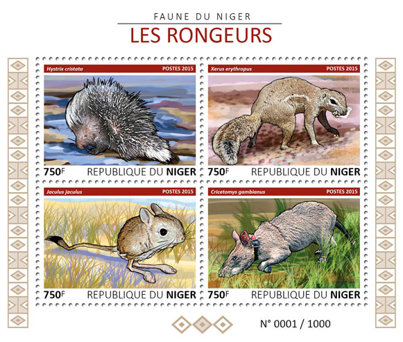 Rodents - Issue of Niger postage stamps