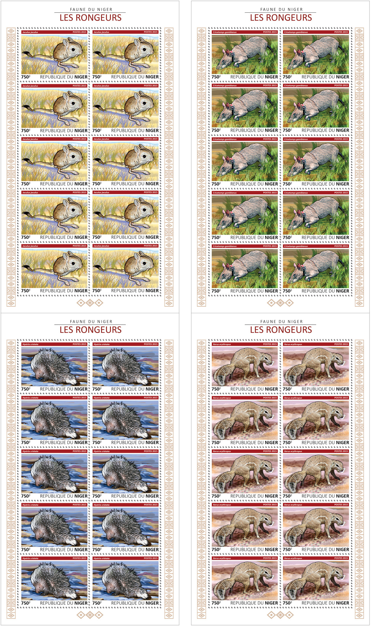 Rodents 4x10v - Issue of Niger postage stamps