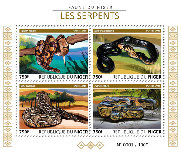 Snakes - Issue of Niger postage stamps