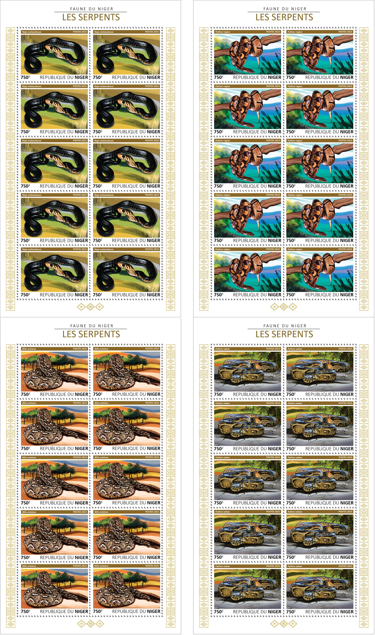 Snakes 4x10v - Issue of Niger postage stamps
