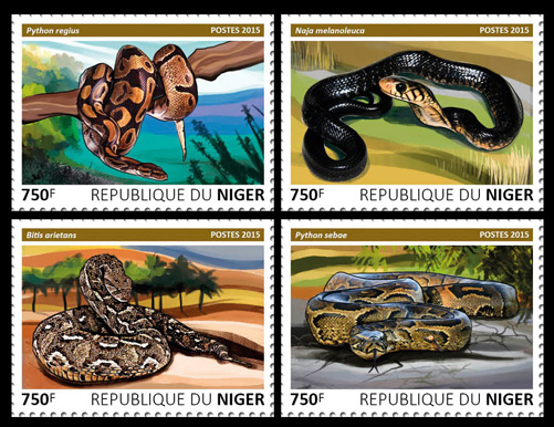 Snakes – set - Issue of Niger postage stamps