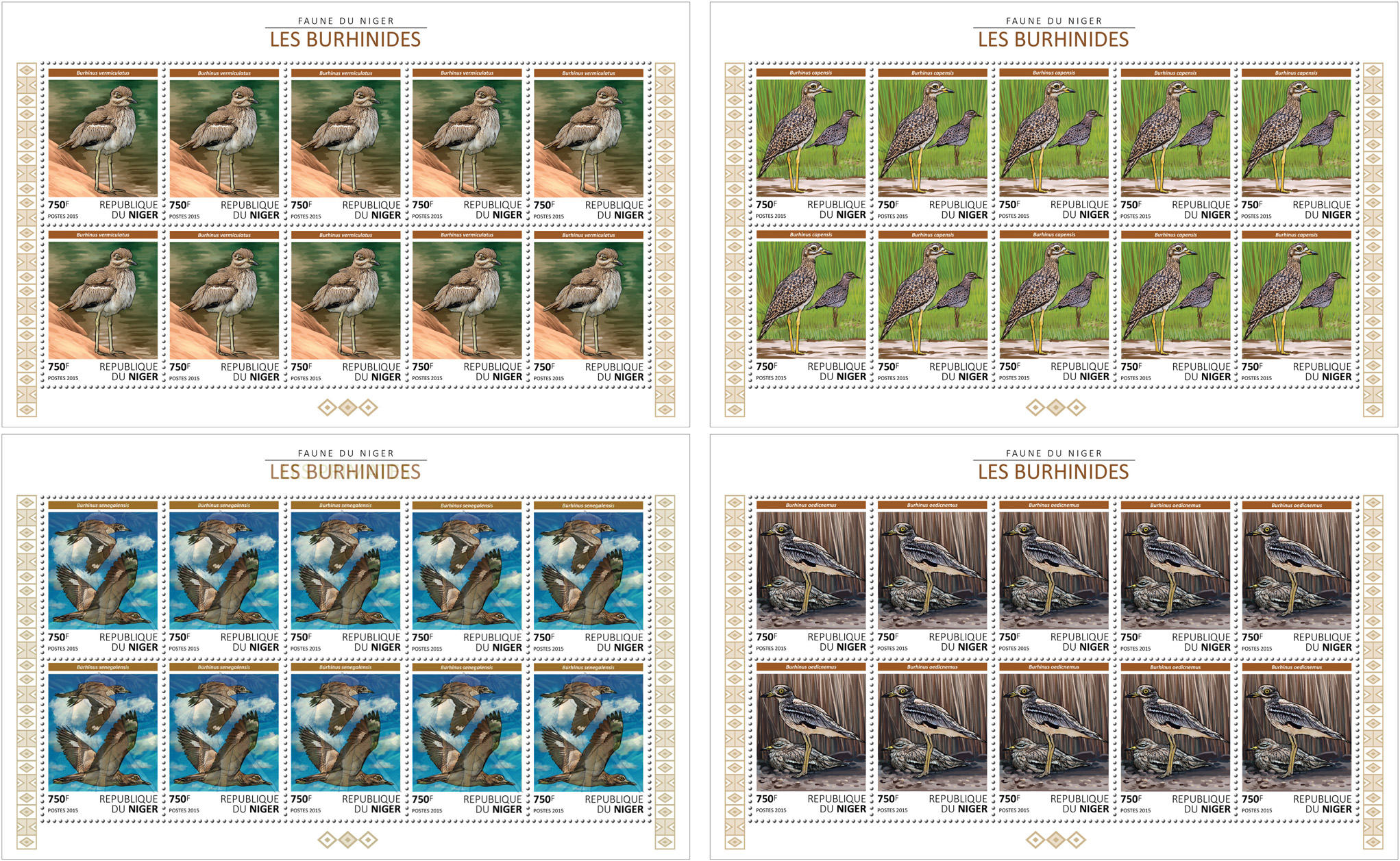 Birds 4x10v - Issue of Niger postage stamps