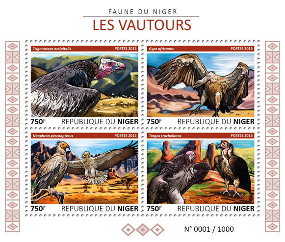 Vultures - Issue of Niger postage stamps