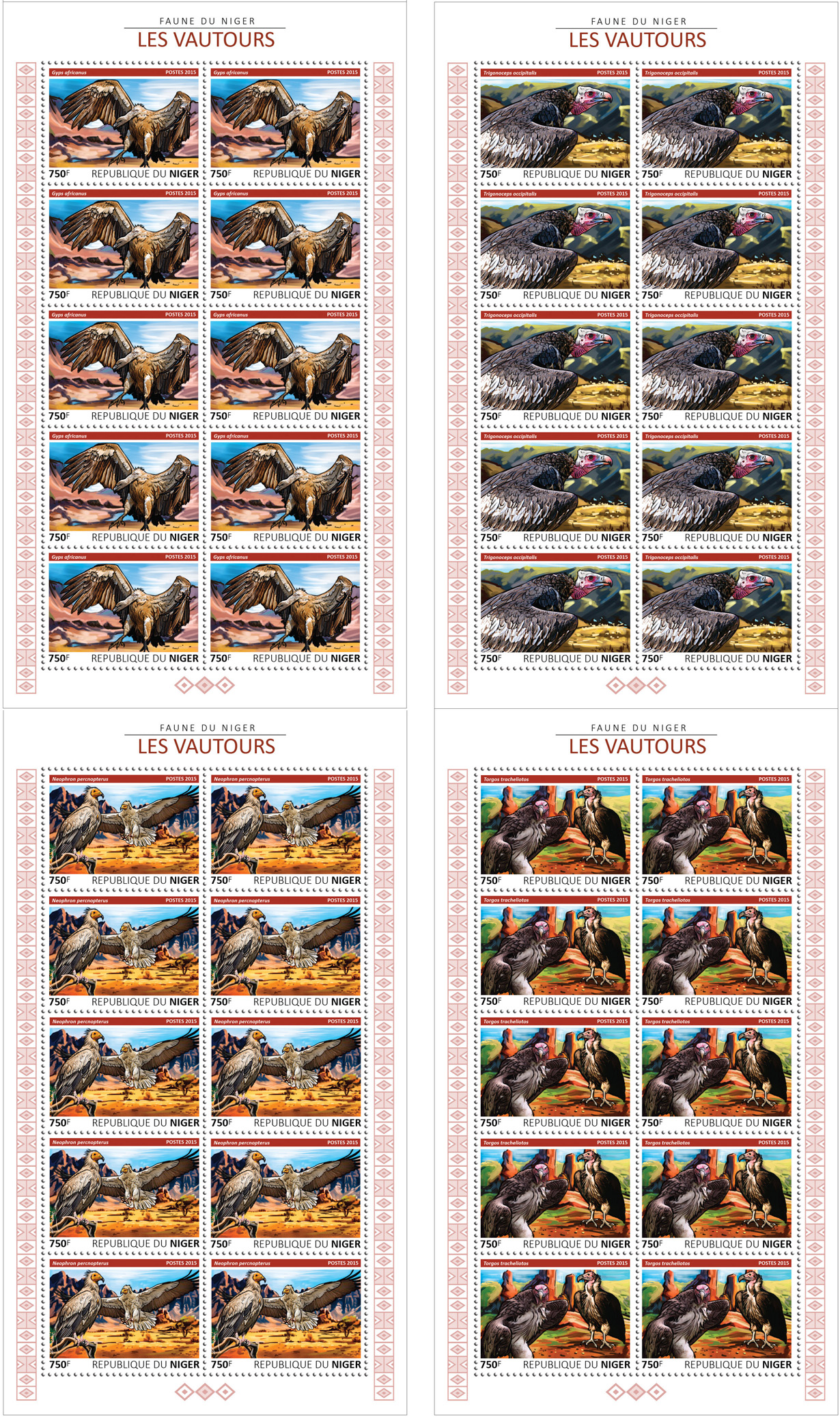 Vultures 4x10v - Issue of Niger postage stamps