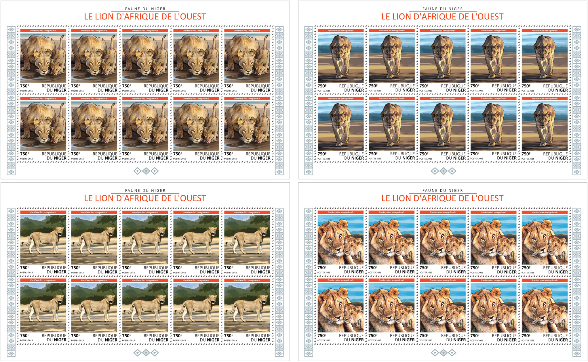 Lions 4x10v - Issue of Niger postage stamps