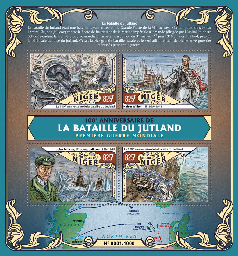 The Battle of Jutland - Issue of Niger postage stamps