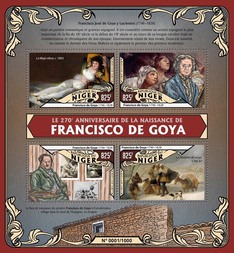 Francisco de Goya - Issue of Niger postage stamps