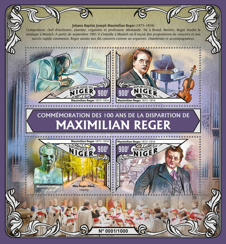 Maximilian Reger - Issue of Niger postage stamps