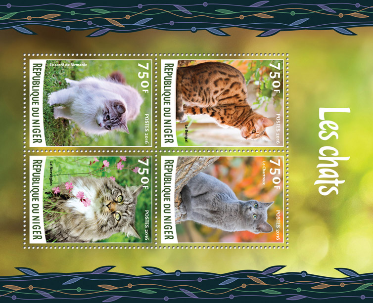 Cats - Issue of Niger postage stamps