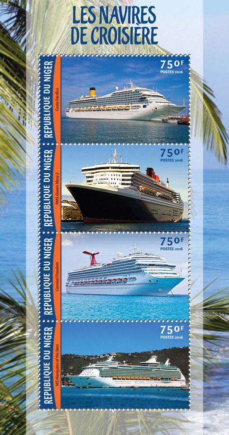Cruise Ships - Issue of Niger postage stamps
