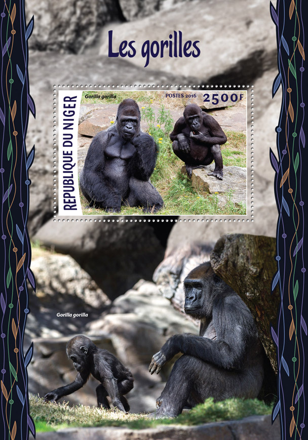 Gorillas - Issue of Niger postage stamps