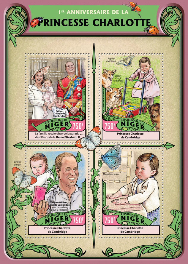 Princess Charlotte - Issue of Niger postage stamps