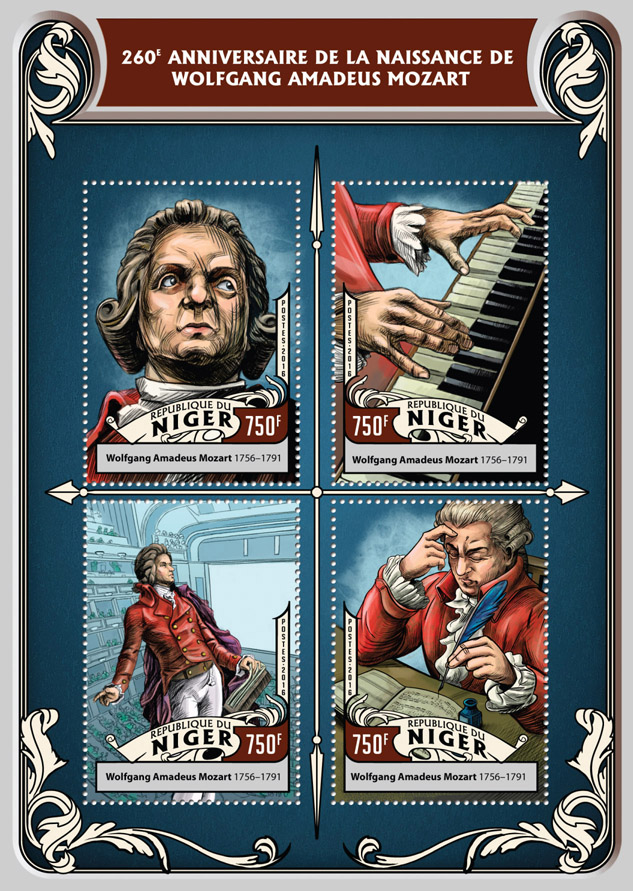 Wolfgang Amadeus Mozart - Issue of Niger postage stamps