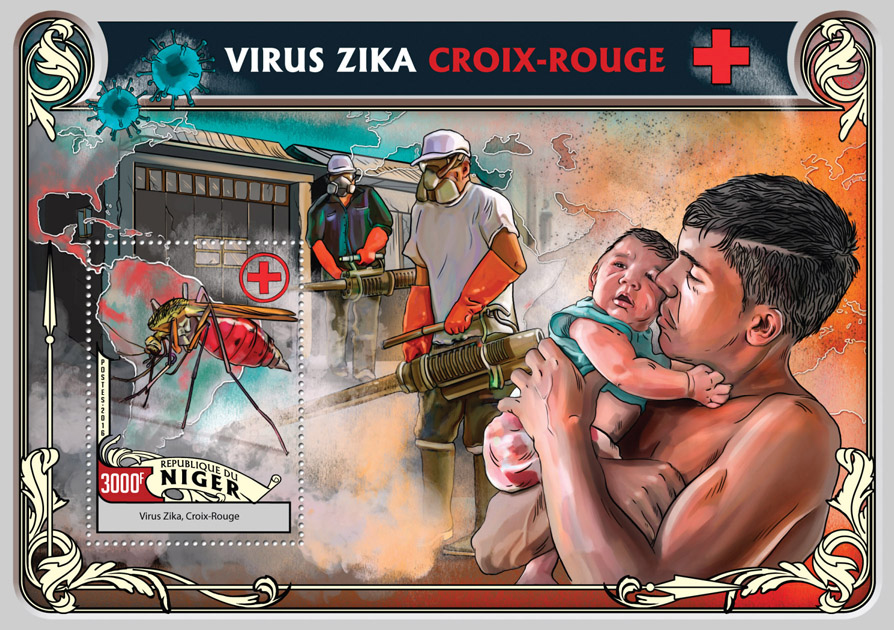 Zika virus Red Cross - Issue of Niger postage stamps