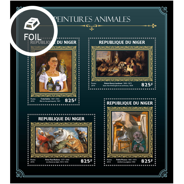 Animals on paintings - Issue of Niger postage stamps