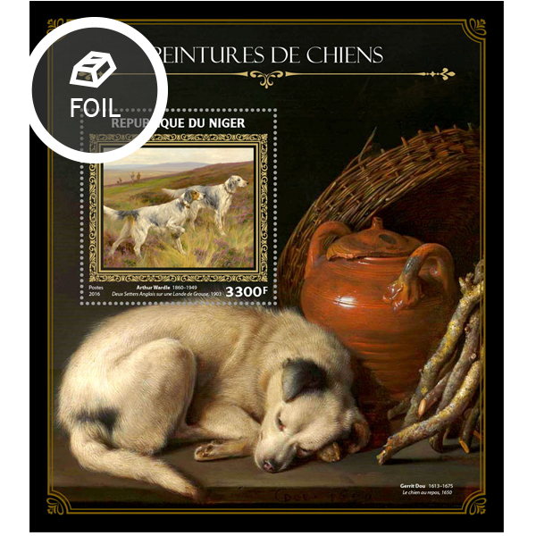 Dogs on paintings - Issue of Niger postage stamps