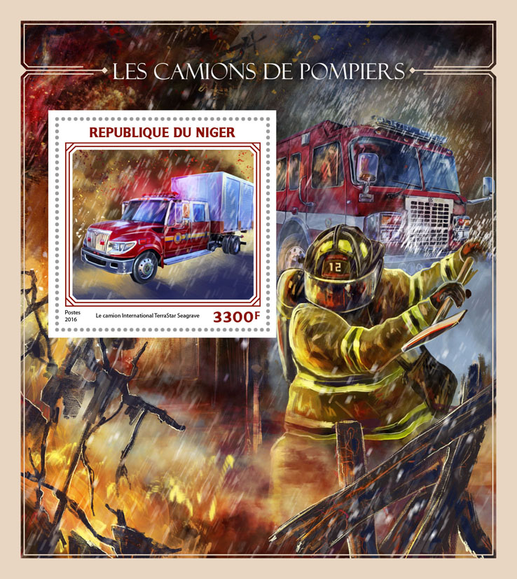Fire trucks - Issue of Niger postage stamps