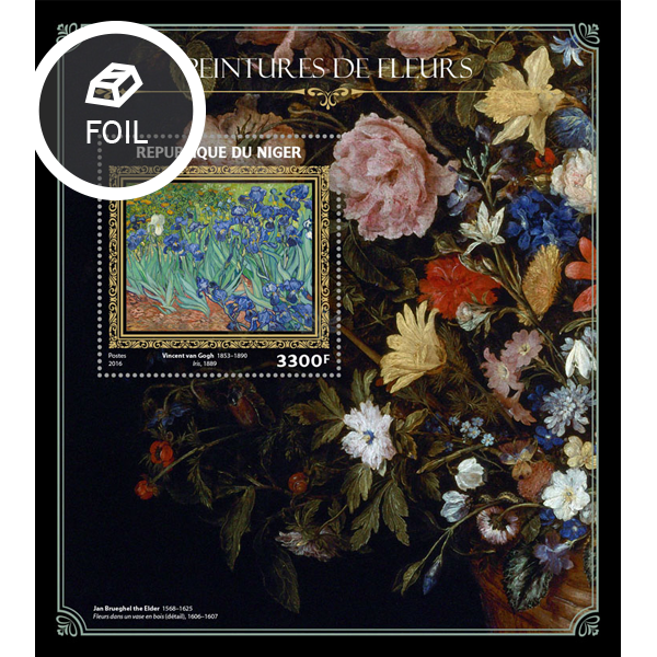 Flowers on paintings - Issue of Niger postage stamps