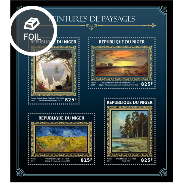 Landscapes on paintings - Issue of Niger postage stamps
