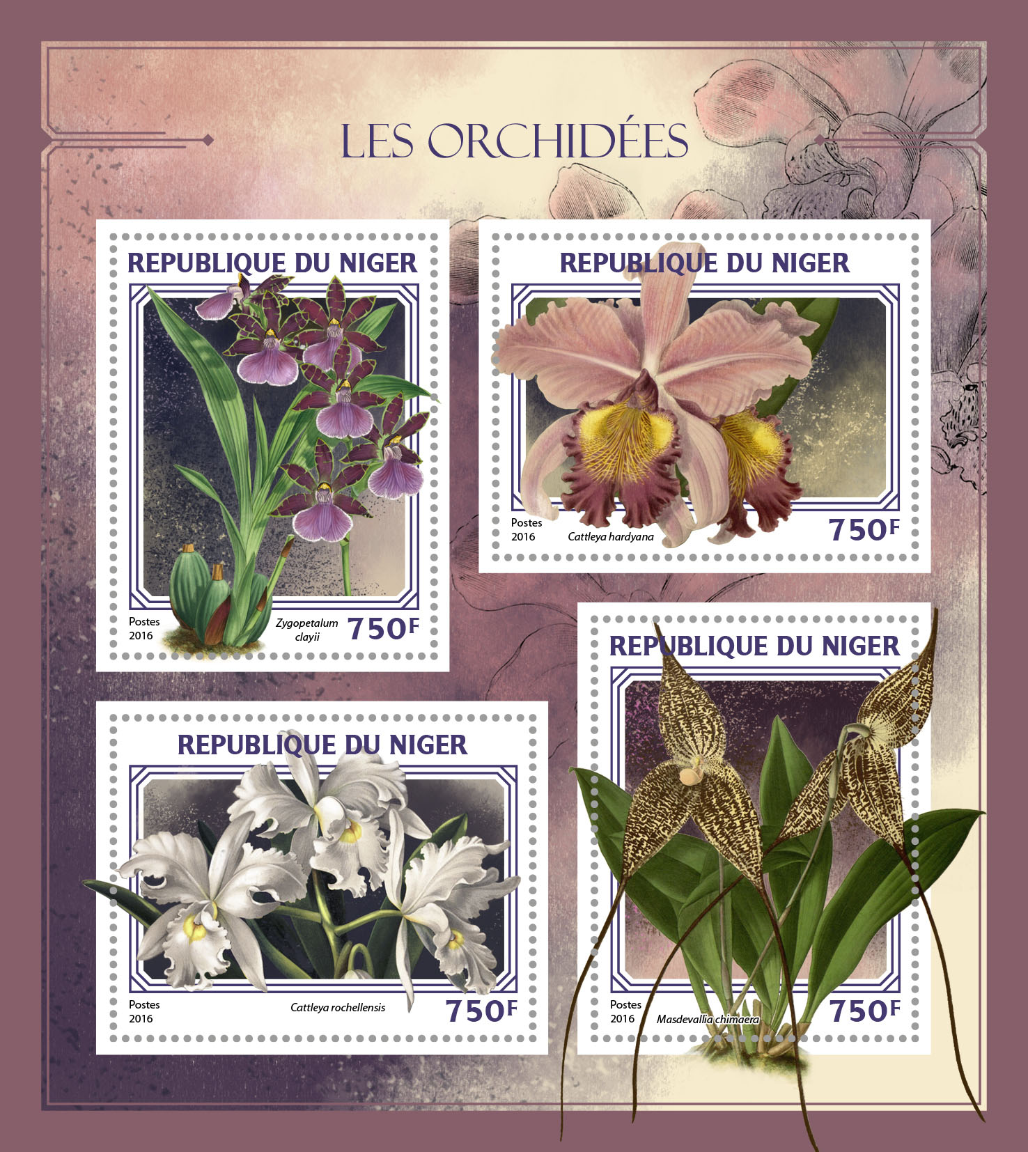 Orchids - Issue of Niger postage stamps
