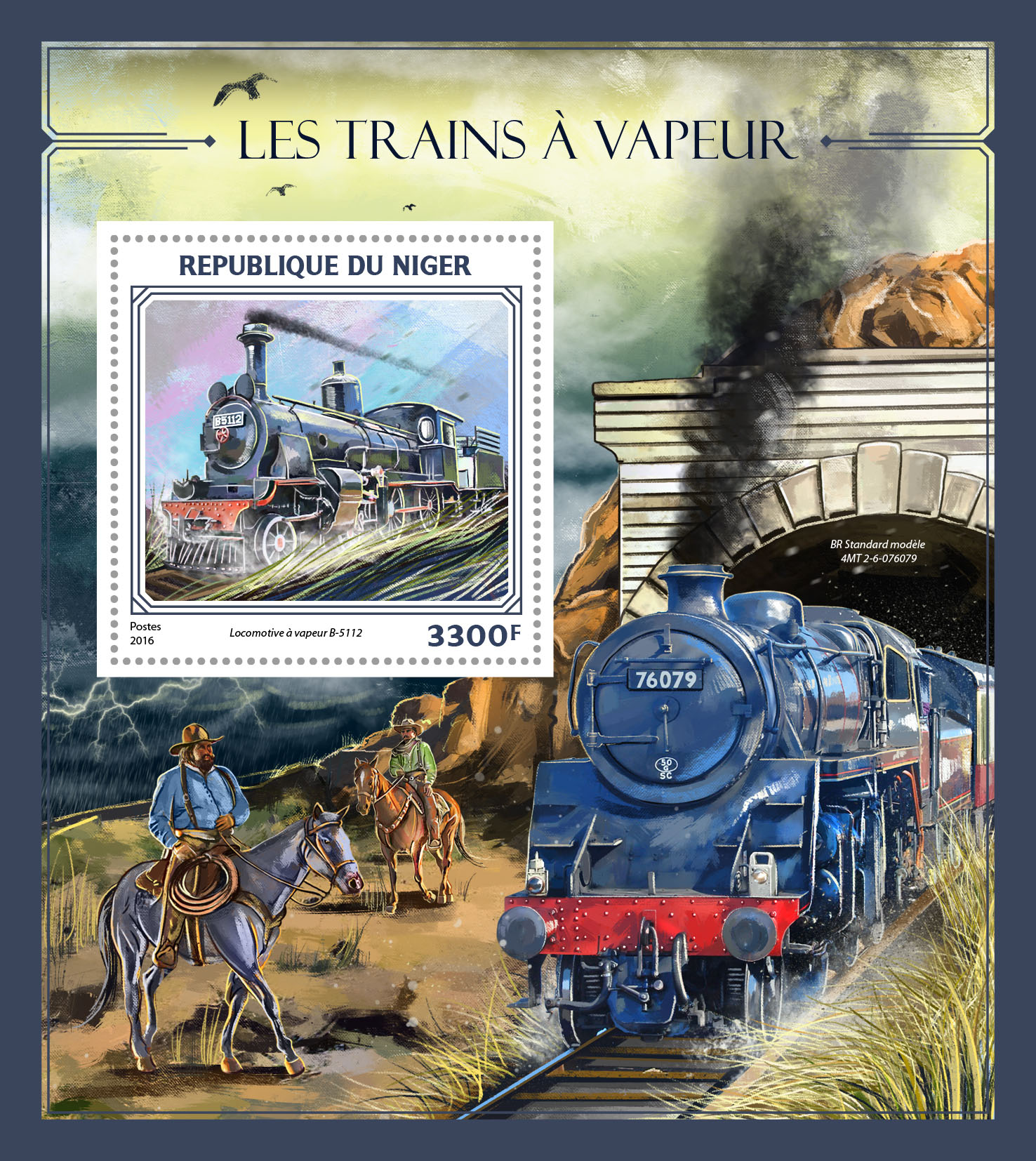 Steam trains - Issue of Niger postage stamps