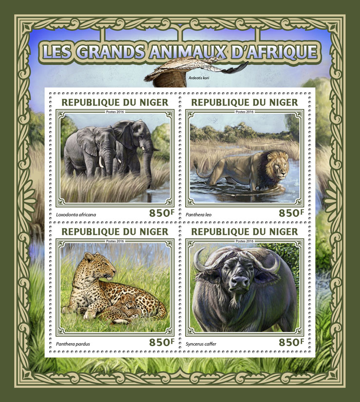 Big African animals - Issue of Niger postage stamps
