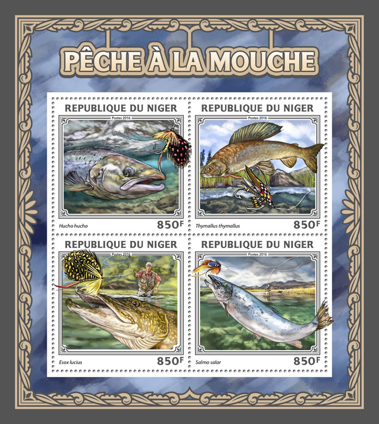 Fly fishing - Issue of Niger postage stamps
