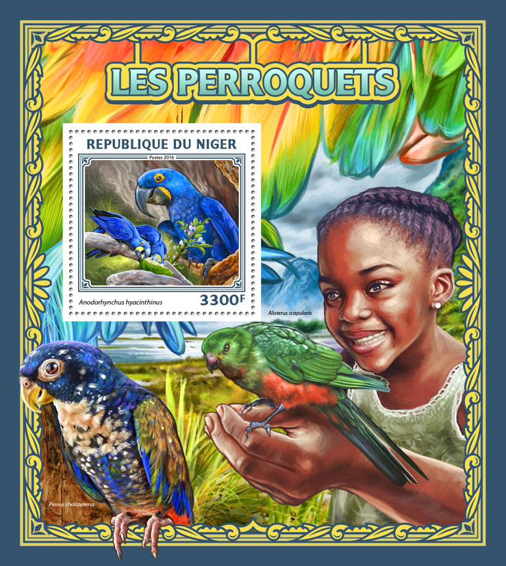 Parrots - Issue of Niger postage stamps