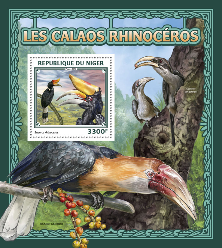 Rhinoceros hornbill - Issue of Niger postage stamps