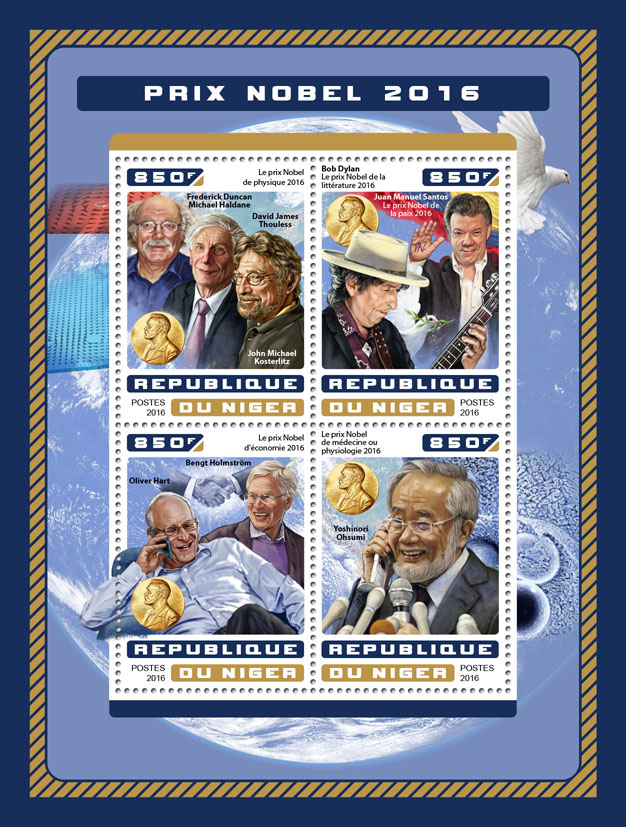 Nobel prize 2016 - Issue of Niger postage stamps