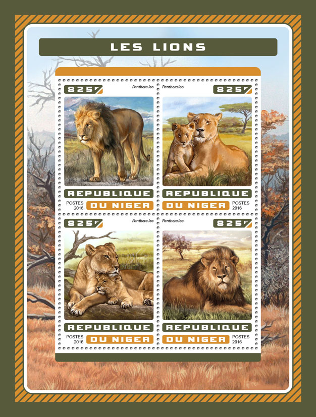 Lions - Issue of Niger postage stamps