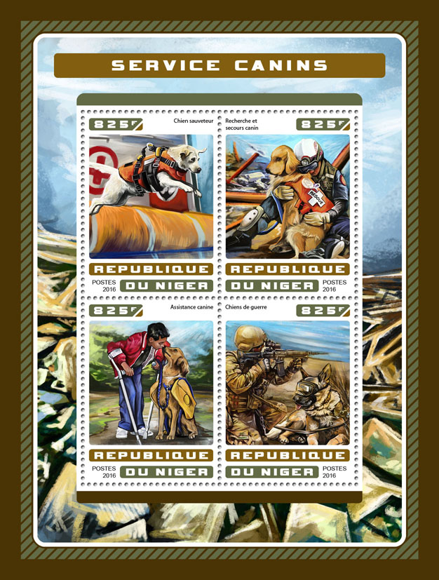 Service dogs - Issue of Niger postage stamps