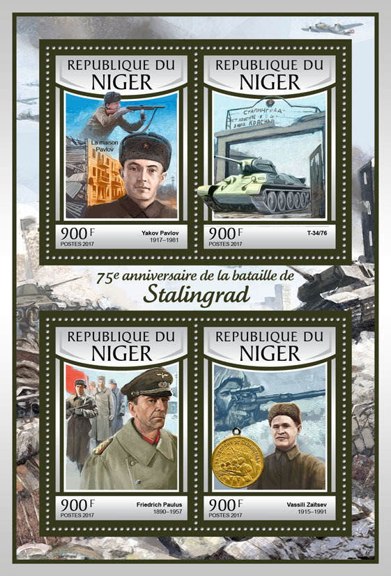 Battle of Stalingrad - Issue of Niger postage stamps