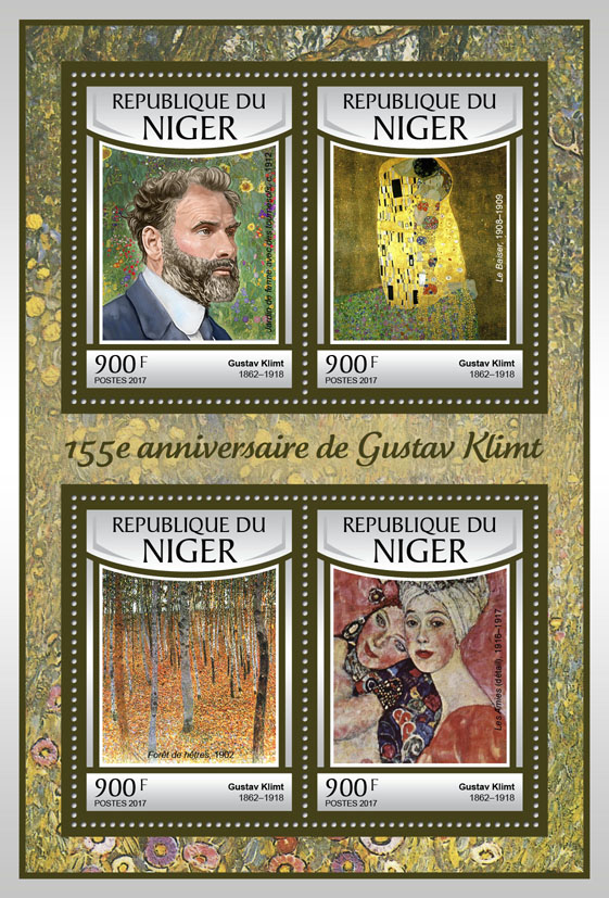 Gustav Klimt - Issue of Niger postage stamps