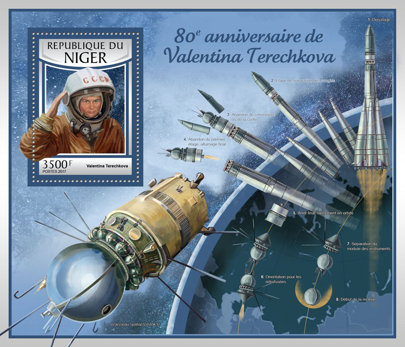 Valentina Tereshkova - Issue of Niger postage stamps