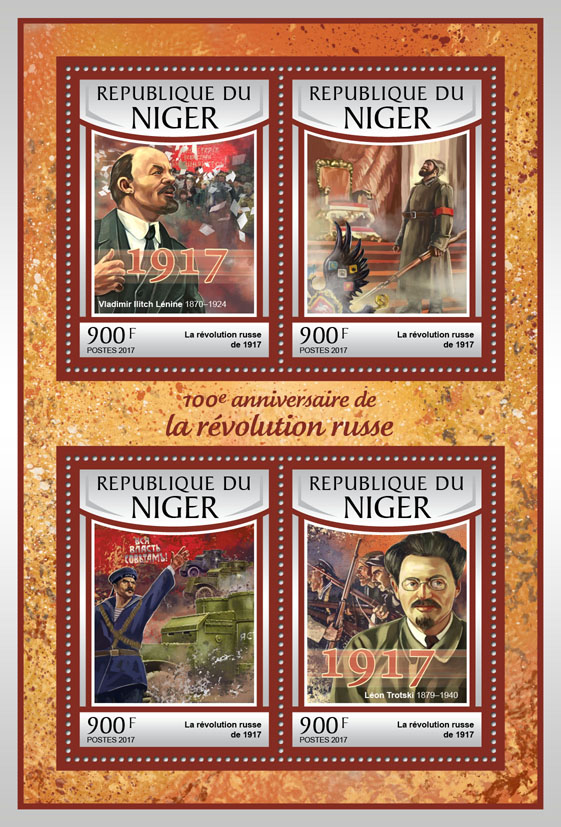 Russian revolution - Issue of Niger postage stamps