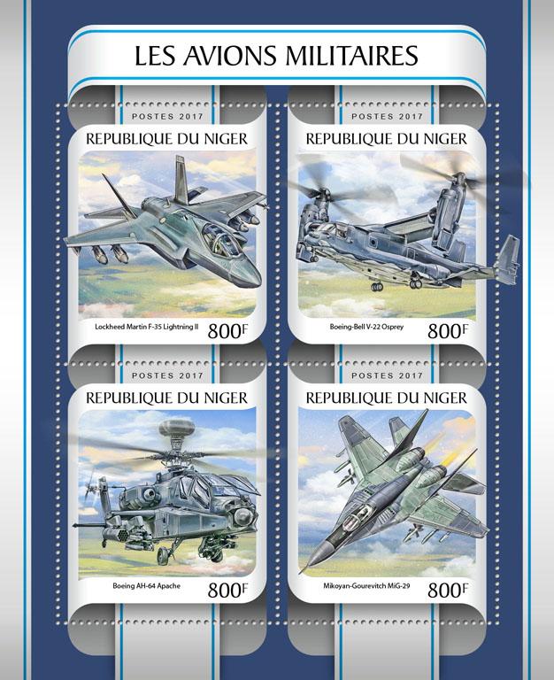 Military planes - Issue of Niger postage stamps