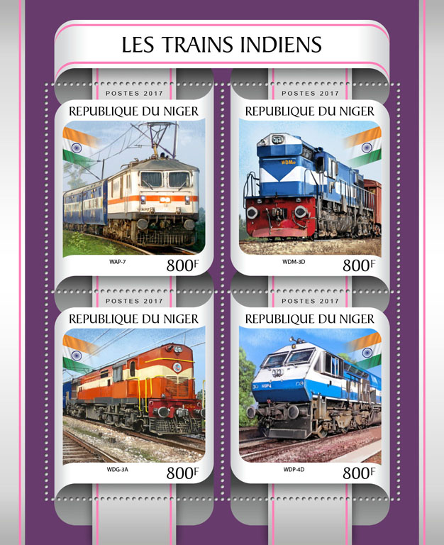 Indian trains - Issue of Niger postage stamps