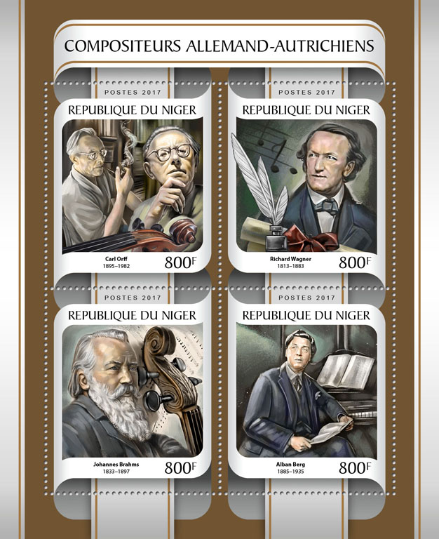 German-Austrian composers - Issue of Niger postage stamps