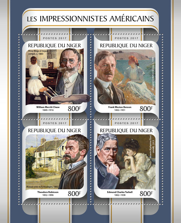 American impressionists - Issue of Niger postage stamps