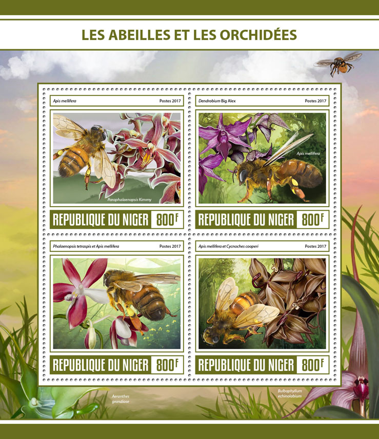 Bees and orchids - Issue of Niger postage stamps