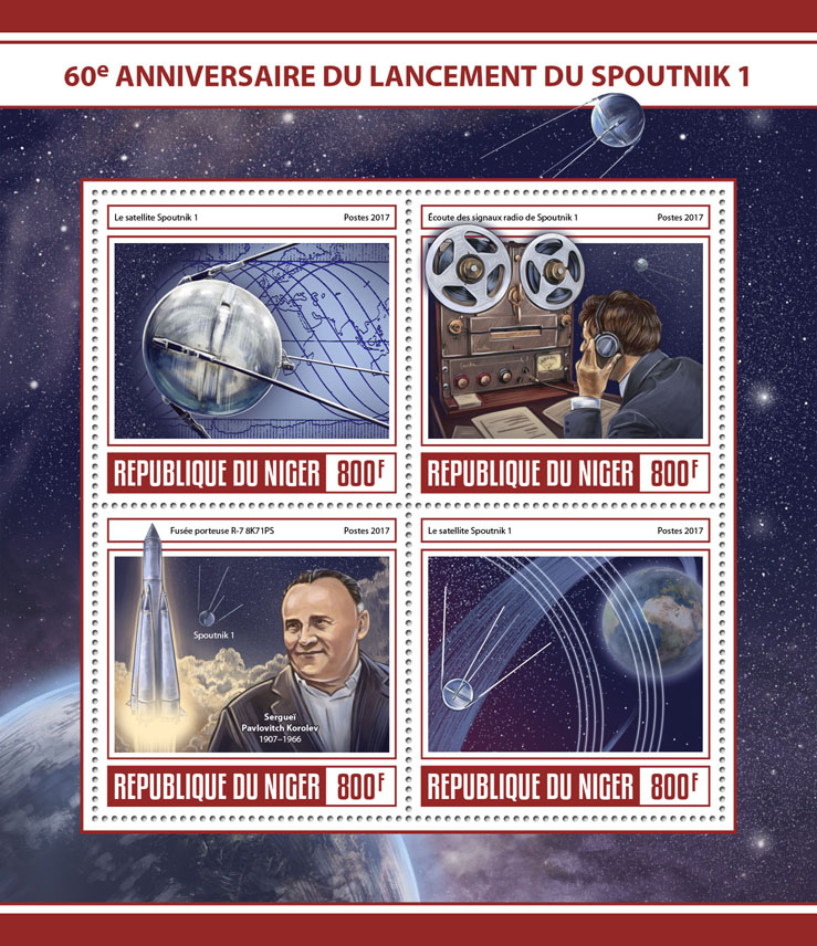 Sputnik launch - Issue of Niger postage stamps