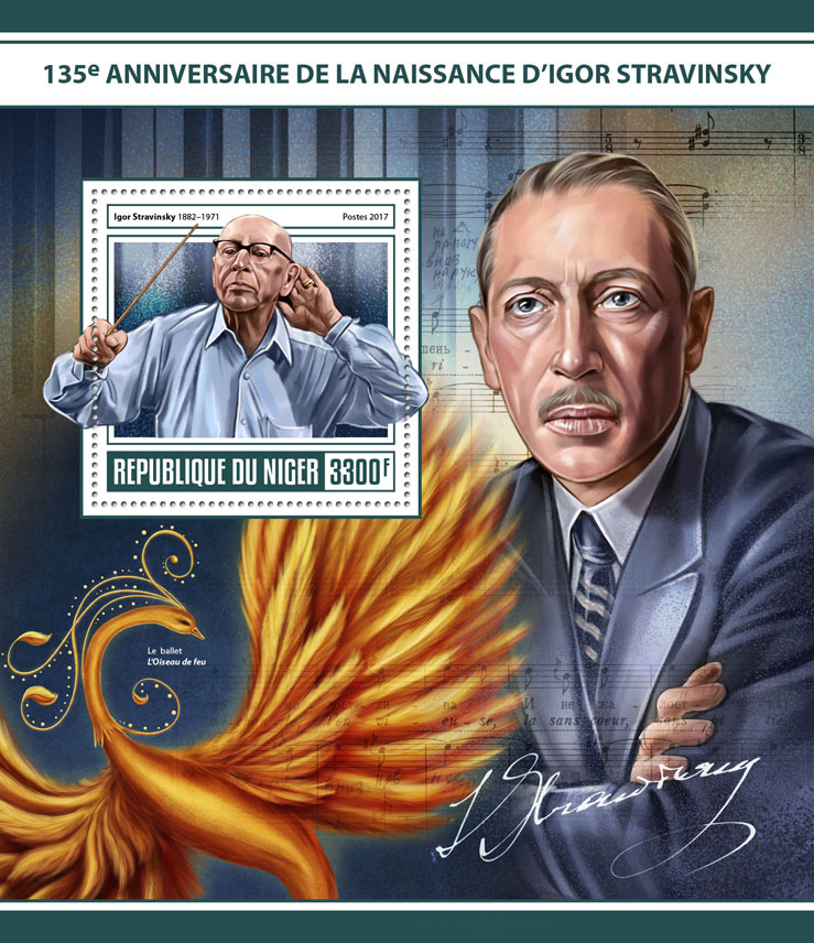 Igor Stravinsky - Issue of Niger postage stamps