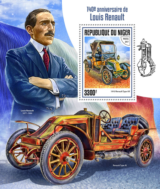 Louis Renault - Issue of Niger postage stamps