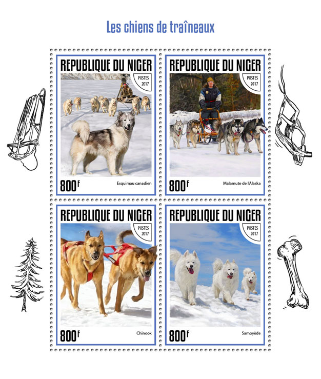 Sledge dogs - Issue of Niger postage stamps