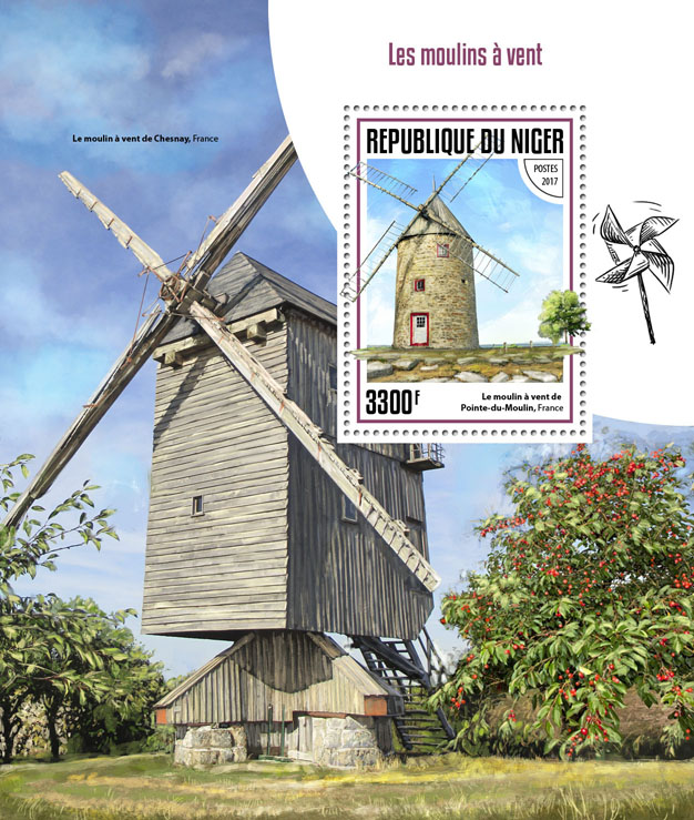 Wind mills - Issue of Niger postage stamps