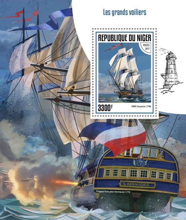 Tall ships - Issue of Niger postage stamps